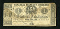 Obsoletes By State:Arkansas, Little Rock, AR- State of Arkansas $1 Feb. 18, 1863. This intact $1 is absent of pinholes, but it does have a water spot cov...