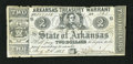 Obsoletes By State:Arkansas, Little Rock, AR- Arkansas Treasury Warrant Aug. 24, 1863 Cr. 38A. This bright blue paper note with blue overprint on the bac...