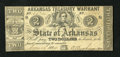 Obsoletes By State:Arkansas, Little Rock, AR- The State of Arkansas Arkansas Treasury Warrant June 14, 1862 $2 Cr. 37. This pleasing example has a light ...