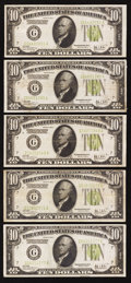 Fr. 2003-G $10 1928C Federal Reserve Notes. Five Examples. Very Fine