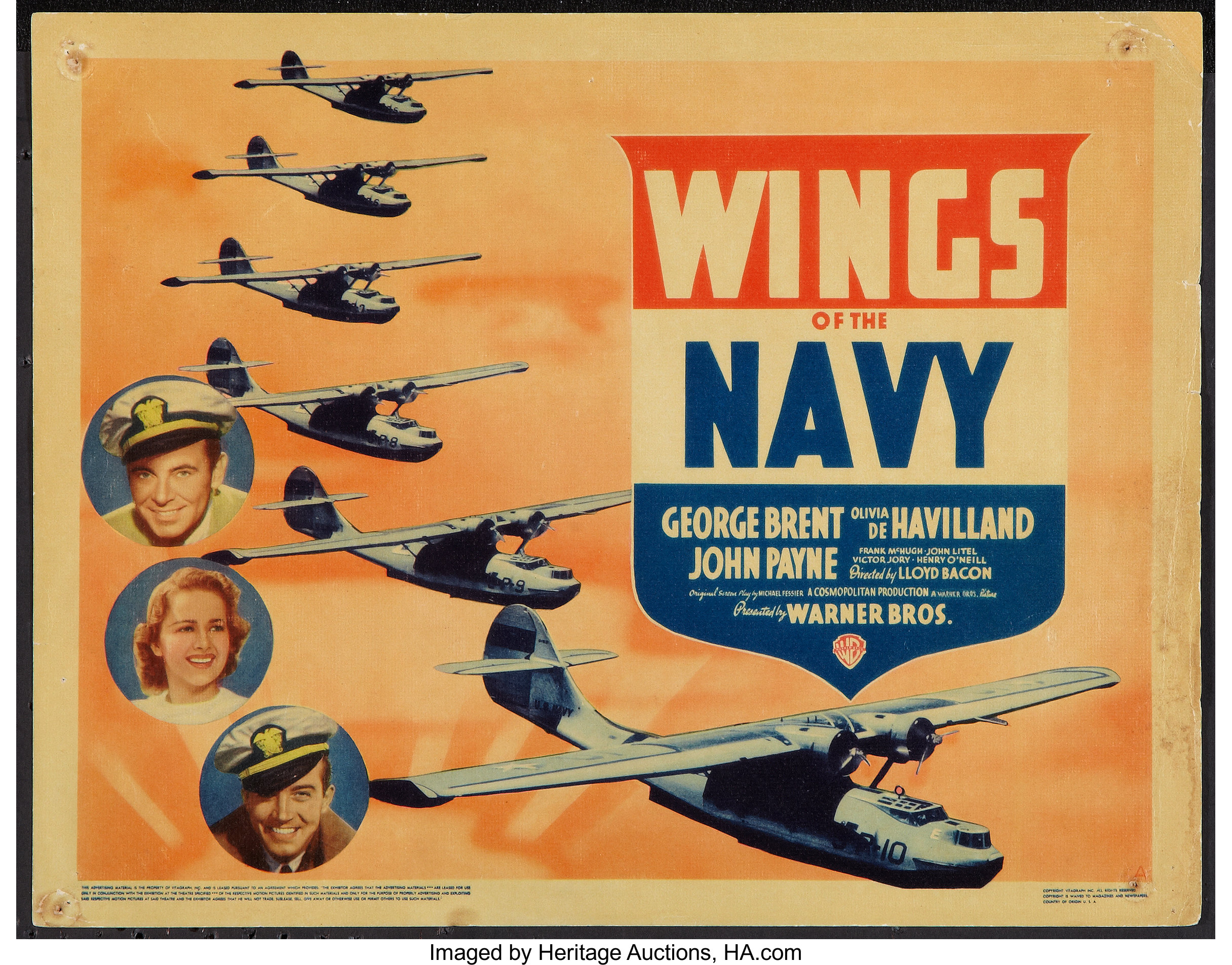 """Wings of the Navy (Warner Brothers, 1939). Title Lobby Card (11"""" X 