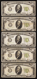 Fr. 2003-G $10 1928C Federal Reserve Notes. Five Examples. Fine-Very Fine