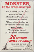 """Movie Posters:Science Fiction, 20 Million Miles to Earth (Columbia, 1957). One Sheet (27"""" X 41"""")Style B. Science Fiction.. ..."""