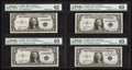 Small Size:Silver Certificates, Fr. 1608* $1 1935A and 1935A Mule Silver Certificates. Changeover Pair w/Bookends PMG Uncirculated 63 and 62.. ... (Total: 4 notes)