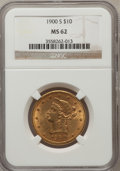Liberty Eagles: , 1900-S $10 MS62 NGC. NGC Census: (16/11). PCGS Population (32/21).Mintage: 81,000. Numismedia Wsl. Price for problem free ...