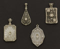 Estate Jewelry:Pendants and Lockets, Four Early Gold Rock Crystal Pendants. ... (Total: 4 Items)