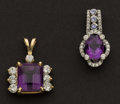 Estate Jewelry:Pendants and Lockets, Two Striking Amethyst & Diamond Gold Pendants. ... (Total: 2Items)