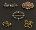 Estate Jewelry:Brooches - Pins, Five Early Gold Pins. ... (Total: 5 Items)