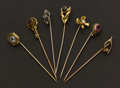 Estate Jewelry:Stick Pins and Hat Pins, Seven Early Gemstone & Gold Stick Pins. ... (Total: 7 Items)