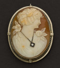 Estate Jewelry:Brooches - Pins, Early Shell Gold Cameo. ...