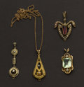 Estate Jewelry:Pendants and Lockets, Four Antique Gold Drops. ... (Total: 4 Items)