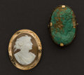 Estate Jewelry:Brooches - Pins, Two Early Gold Cameos. ... (Total: 2 Items)