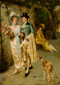 Fine Art - Painting, European:Other , POMPEO MASSANI (Italian, 1850-1920). An Afternoon Stroll.Oil on canvas . 27 x 19 inches (68.6 x 48.3 cm). Signed lower ...