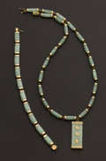 Estate Jewelry:Other , Jade & Gold Necklace With Pendant & Bracelet. ... (Total: 2Items)