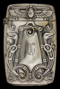 Silver Smalls:Match Safes, AN AMERICAN SILVER-PLATED MATCH SAFE . Maker unknown, American,circa 1890. Unmarked. 2-5/8 inches high (6.7 cm). .70 ounce ...