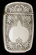 Silver Smalls:Match Safes, AN AMERICAN SILVER MATCH SAFE . Maker unknown, American, circa1890. Marks: STERLING. 3 inches high (7.6 cm). 1.1 ounces...
