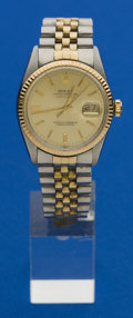 Timepieces:Wristwatch, Rolex Ref. 16000 Gent's Two Tone Datejust, circa 1980. ...