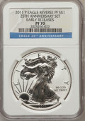 2011 SET 25th Anniversary Silver American Eagle, Early Releases, Five-Piece Set. The set includes 2011-P Reverse Proof P...