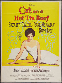 """Cat on a Hot Tin Roof (MGM, 1958). Poster (30"""" X 40""""). Style Z. Drama"""