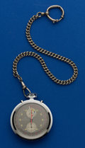 Timepieces:Pocket (post 1900), Bucherer Display Back Steel Chronograph & Chain. ...