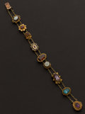 Estate Jewelry:Bracelets, Charming Multi-Color Gemstone Gold Slide Bracelet. ...