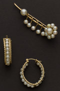 Estate Jewelry:Pearls, Estate Gold & Pearl Pin & Earrings. ... (Total: 2 Items)