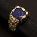 Estate Jewelry:Rings, Gents 14k Gold Nugget & Lapis Lazuli Ring. ...