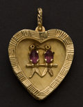 Estate Jewelry:Pendants and Lockets, Charming Gold & Amethyst Gold Heart. ...