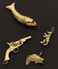 Estate Jewelry:Other , Charming Gold Charms. ... (Total: 4 Items)