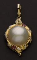 Estate Jewelry:Pearls, Large Mabe Pearl & Diamond Enhancer. ...