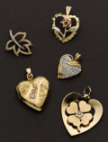 Estate Jewelry:Pendants and Lockets, Five Diamond & Gold Charms. ... (Total: 5 Items)