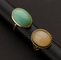 Estate Jewelry:Rings, Turquoise & Pink Quartz Cabochon Gold Rings. ... (Total: 2Items)