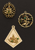 Estate Jewelry:Other , Three Gold Charms Tree Of Life Charm & Two Christmas Trees Charms. ... (Total: 3 Items)