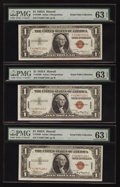 Small Size:World War II Emergency Notes, Fr. 2300 $1 1935A Hawaii Silver Certificates. F-C Block Three Examples. PMG Choice Uncirculated 63 EPQ.. ... (Total: 3 notes)