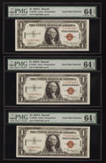 Small Size:World War II Emergency Notes, Fr. 2300 $1 1935A Hawaii Silver Certificates. F-C Block Five Examples. PMG Choice Uncirculated 64 EPQ.. ... (Total: 5 notes)