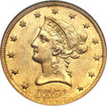 Liberty Eagles, 1854-O $10 Small Date AU58 NGC. CAC. Variety 1....