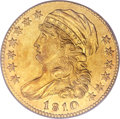 Early Half Eagles, 1810 $5 Small Date, Small 5 AU58 PCGS. CAC. Breen-6461, BD-2, R.6....