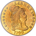 Early Half Eagles, 1799 $5 Small Stars Reverse MS62 PCGS. Breen-6433, BD-1, HighR.5....