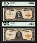 Large Size:Gold Certificates, Fr. 1173 $10 1922 Gold Certificate PCGS Extremely Fine 40PPQ.. ...(Total: 2 notes)