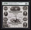 Obsoletes By State:Massachusetts, Grafton, MA- The Grafton Bank $2-$20 Aug. 1, 1854 G4a-G14 ProofPair. ...