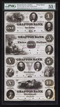 Obsoletes By State:Massachusetts, Grafton, MA- The Grafton Bank $1-$3-$5-$10 Aug. 1, 1854 G2a-G6a-G8a-G12a Proof Uncut Sheet. ...