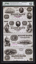 Obsoletes By State:Massachusetts, Boston, MA- The Eliot Bank $20-$50-$100-$500 G12a-14a-16-20 Proof Uncut Sheet. ...