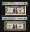 Small Size:World War II Emergency Notes, Fr. 2300 $1 1935A Hawaii Silver Certificates. F-C Block Two Examples. PMG Choice Uncirculated 64 EPQ.. ... (Total: 2 notes)