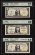 Small Size:World War II Emergency Notes, Fr. 2306 $1 1935A North Africa Silver Certificates. F-C Block Three Examples. PMG Uncirculated 62 EPQ.. ... (Total: 3 notes)
