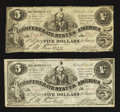 Confederate Notes:1861 Issues, CT36/278 $5 1861 Two Examples.. ... (Total: 2 notes)