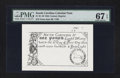 Colonial Notes:South Carolina, 19th Century Reprint South Carolina June 30, 1748 £1 PMG Superb GemUnc 67 EPQ.. ...