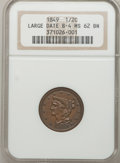 Half Cents: , 1849 1/2 C Large Date MS62 Brown NGC. B-4. NGC Census: (43/80).PCGS Population (34/68). Mintage: 39,864. Numismedia Wsl. P...