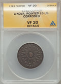 Colonials: , 1783 COPPER Nova Constellatio Copper, Pointed Rays, Large US --Corroded -- ANACS. VF20 Details. NGC Census: (3/25). PCGS P...