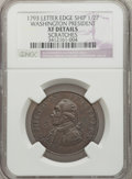 Colonials: , 1793 1/2P Washington Ship Halfpenny, Copper, Lettered Edge --Scratches -- NGC Details. XF. NGC Census: (10/37). PCGS Popul...