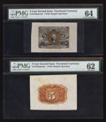 Fractional Currency:Second Issue, Fr. 1232SP 5¢ Second Issue Wide Margin Pair PMG Choice Uncirculated 64 and Uncirculated 62.. ... (Total: 2 notes)